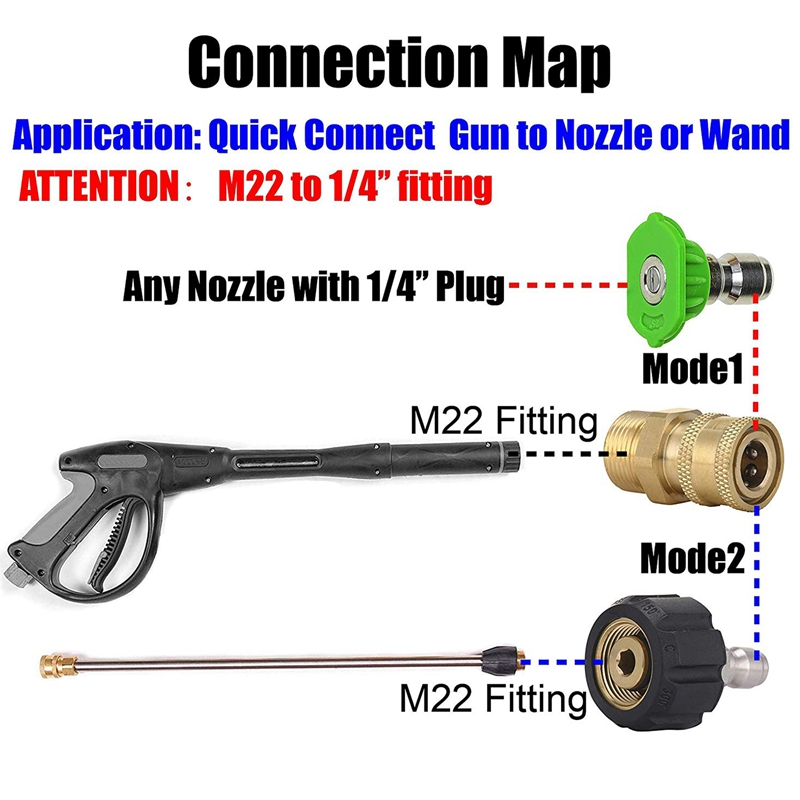 Iycorish Pressure Washer Set M22 to 1//4 Inch Quick Connect Kit M22 14Mm to 1//4 Inch Quick Connect Kit