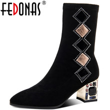 FEDONAS Band Design Schuhe Frauen Heels 2021 Mode Wildleder Leder Strass High Heels Stiefel Bots Party Woking Mid-Kalb stiefel