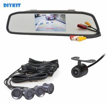 "DIYKIT Video Parking Radar 4 Sensors 4.3"" Car Mirror Monitor + HD Rear View Car Camera Parking Assistance System Kit"