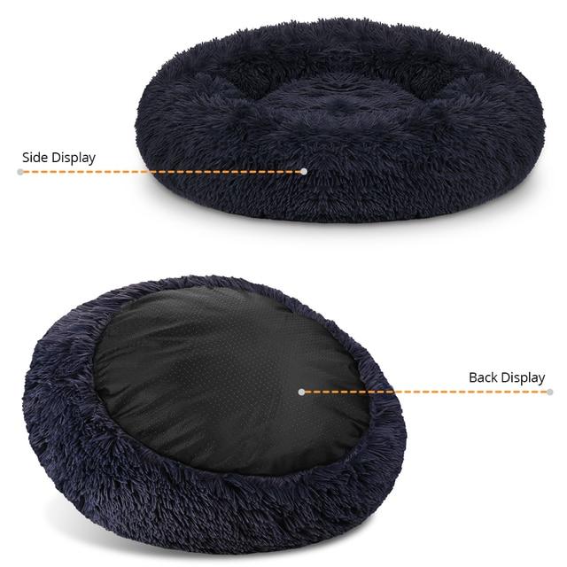DEKO Super Soft Pet Dog Beds Kennel Round Cushion Fluffy Cat House Warm Comfortable Sleeping Mat Sofa Washable Puppy Supplies 2