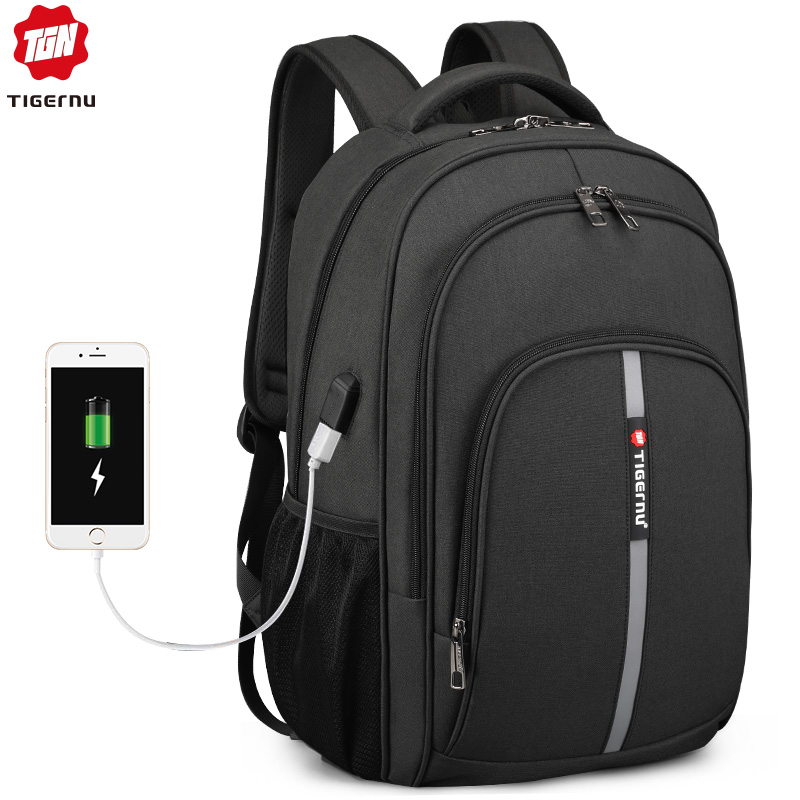 Tigernu Backpack Male Large Capacity Water Resistant Laptop Backpacks 15 6 Inch Travel Bag with Reflective