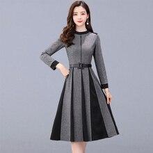 Осеннее повседневное длинное платье Женская Новая мода корейский стиль с длинным рукавом элегантное ТРАПЕЦИЕВИДНОЕ женское вечернее платье с поясом P141