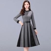 Autumn Casual Long Dress Women New Fashion Korean Style Long Sleeve Elegant A line Ladies Party Dresses With Belt P141