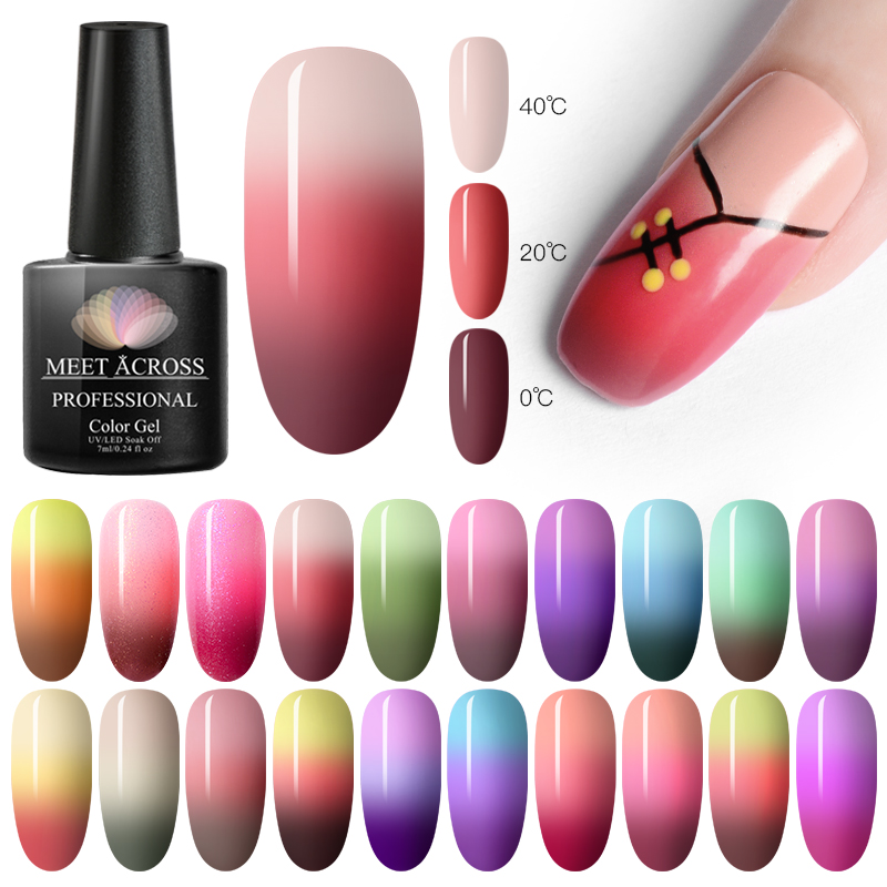 MEET ACROSS Thermal Ultra-thin Pure Color Soak Off UV Gel Glitter Gel Top Coat Color-changing Varnish Gel Nail Art Lacquer