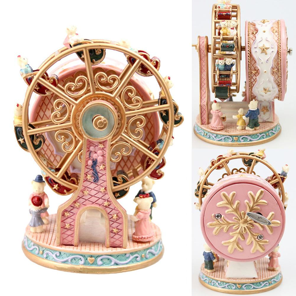 Rotatable Carousel Ferris Wheel Resin Music Box Clockwork Home Decor Cranked Gift For Children Girlfriend