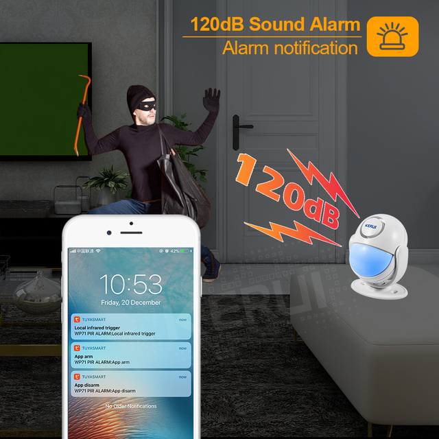 KERUI Tuya Smart Home Security WIFI Alarm System Works With Alexa 120dB Motion Detector Door Sensor Surveillance Camera 3