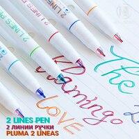 Andstal único 2 linhas caneta scrapbooking canetas linha dupla arte marcador marcador fino forro marcadores fineliner lettering cor journaling|Marcadores da arte| |  -