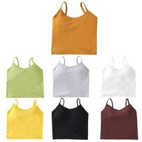 Women Ribbed Tank Top Solid Color Camisole Sexy Backless Twist Knot Padded Vest