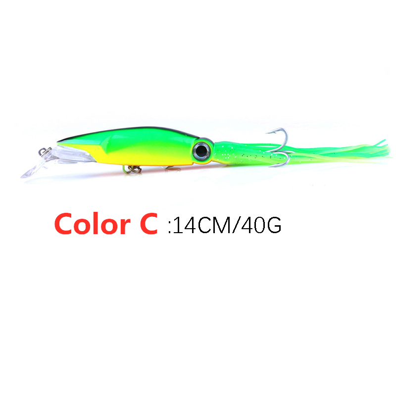 HB 40g 14cm Squid Shape Artificial Fish Lure Bait Sea Ocean Fishing Tackle Dote