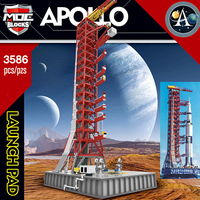 MOC Ideas Creator Expert Building Blocks Space Rocket Launch Shelf for Saturn V Apollo 11 Lunar Lander Children Gift Toys