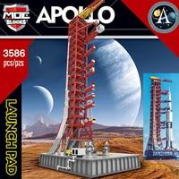 MOC Ideas Creator Expert Building Blocks Space Rocket Launch Shelf for Saturn V Apollo 11 Lunar Lander Children Gift Toys