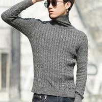 Высокое качество утолщаются теплые водолазки мужской свитер Hombre Модные трикотажные мужские свитера Повседневный тонкий пуловер мужской т...