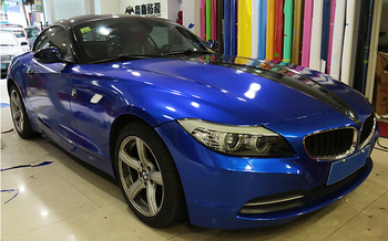 Blue Gloss Candy Metallic Vinyl Car Wrap Foils Midnight Blue Glossy Film Wrapping With Air Release