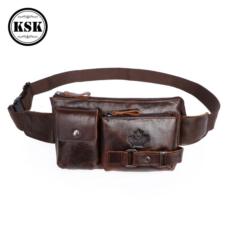 Men's Genuine Leather Bag Fanny Pack Belt Bag Waist Bags For Men 2019 Fashion Flap Fanny Pack Men Leather Belt Bags For Men KSK