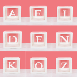 A-Z letter Name Transparent Balloon Box BABY ONE Blocks Boy Girl Party Gift Box Wedding Decoration Baby Shower Birthday Party