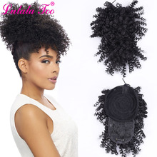 High Puff Afro Kinky Curly Drawstring Ponytail With Bangs Wi