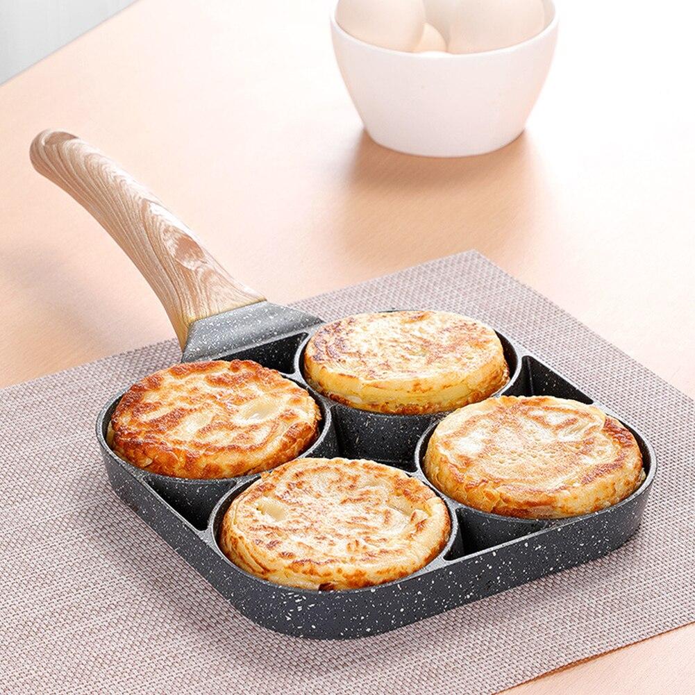 Сковорода для омлета с 4 отверстиями для бургеров, яиц, ветчины, блинов, сковородок, креативная антипригарная сковорода без масла и дыма, гри...