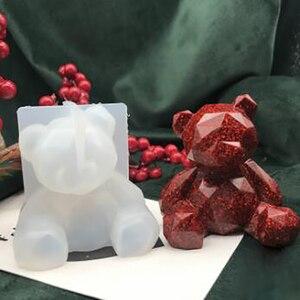Molde de silicone 3d de coração enchido, ferramentas artesanais de resina geométrica de urso, faça você mesmo, urso kawaii, resina epóxi, joias, coelho, porco