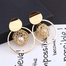 2019 New Fashion Stud Earrings For Women Golden Color Round Ball Geometric Earrings For Party Wedding Gift Wholesale Ear Jewelry(China)