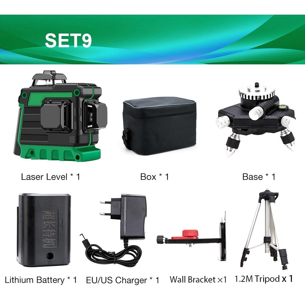 12 линий 3D зеленый лазерный уровень самонивелирующийся 360 градусов Горизонтальные и вертикальные поперечные линии Зеленая лазерная линия с батареей штатива - Цвет: SET9 V12L4