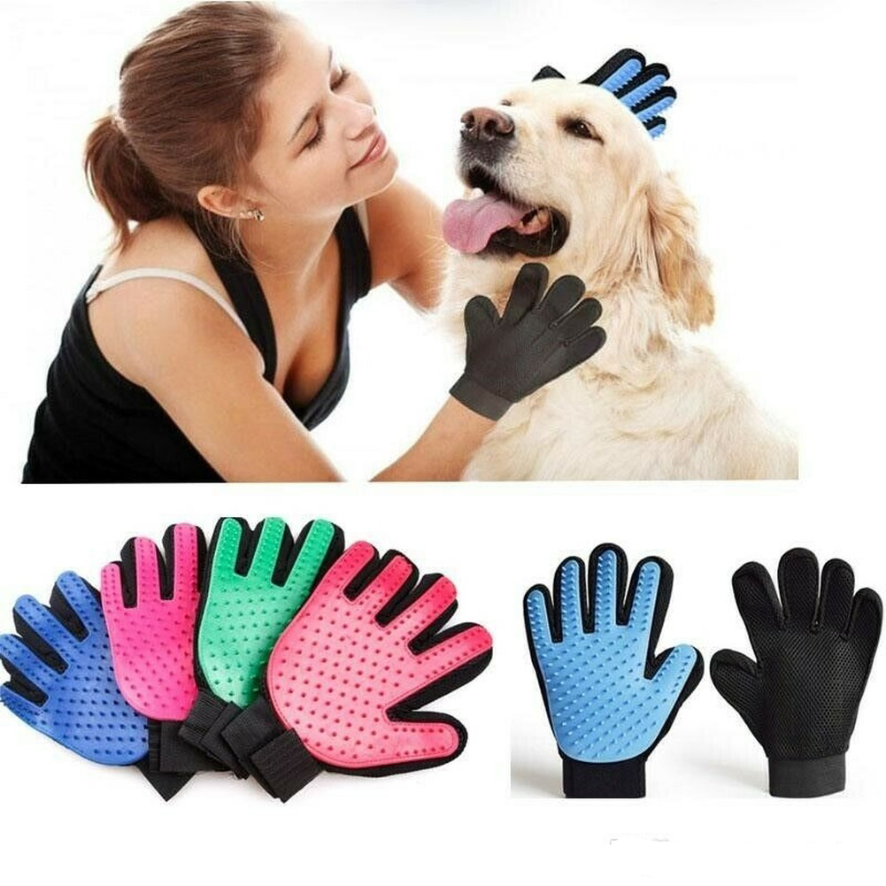Pet Silicone Glove Cat Grooming Gloves Dog Efficient Hair Deshedding Brush Comb Dogs Bath Clean Massage Pets Glove Hair Remove