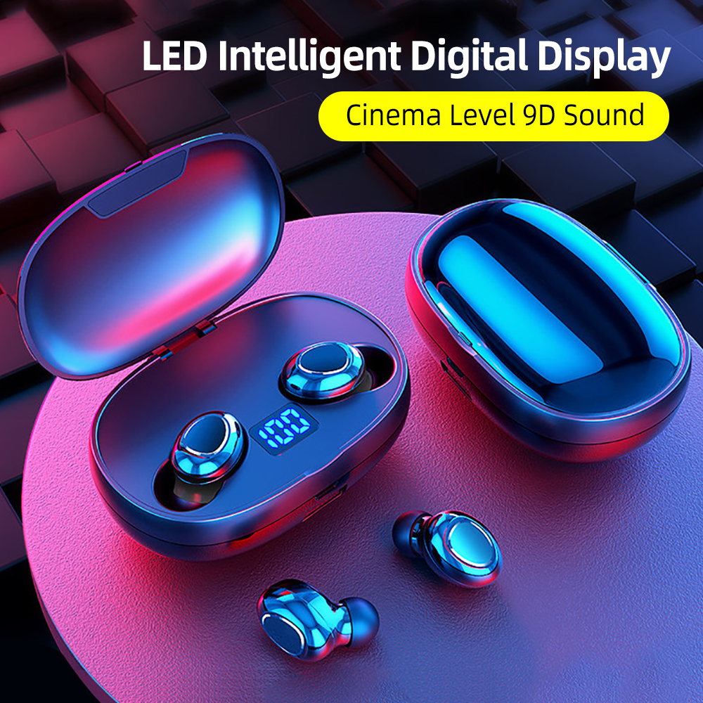 T3S TWS LED Display Bluetooth Earphone 9D Stereo Wireless Headphones Noise Cancelling Bluetooth Earphone With 2200mAh Power Bank