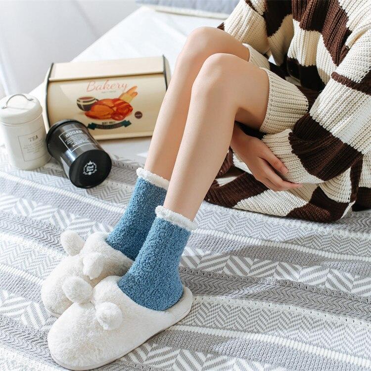 Ladies Women Winter Warm Soft Fluffy Bed Socks Home Floor Slipper Coral Velvet Fleece Sock Winter