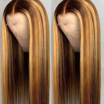 Wyróżnij peruka Ombre brązowy kolorowy ludzki włos peruka 13 #215 4 koronkowa peruka na przód wstępnie oskubane prosto blond peruka Glueless 4 27 wyróżnij peruka tanie i dobre opinie megalook long Proste Koronki przodu peruk CN (pochodzenie) Remy włosy Pół maszyny wykonane i pół ręcznie wiązanej