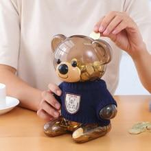 Креативный подарок, Детская копилка для монет, копилка, мультяшная одежда, медведь, пластиковая прозрачная копилка для сбережений, пластико...