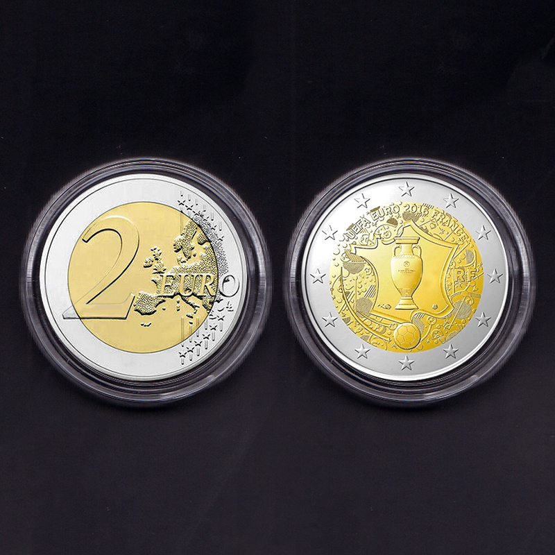 França 2 euro 2016 jogo de futebol, genuíno original coleção de moedas comemorativas raro unc 1 peça