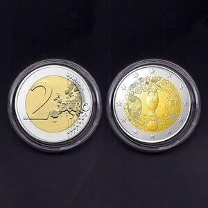 Франция, 2 евро, 2016, футбольная игра, 100% реальная оригинальная монета, коллекция памятных монет, редкая монета Unc, 1 шт.