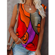Women Casual Sleeveless T-Shirt Vintage Loose O-Neck Vest Tops Pullover 2021 Summer Sexy Colorful Printed Tee Shirts Streetwear