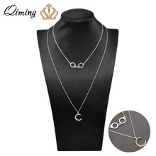 Silver Handcuffs Pendant Necklace Female Women Crescent Moon Crystal Handmade Jewelry Accessories Long Necklace Collier(China)
