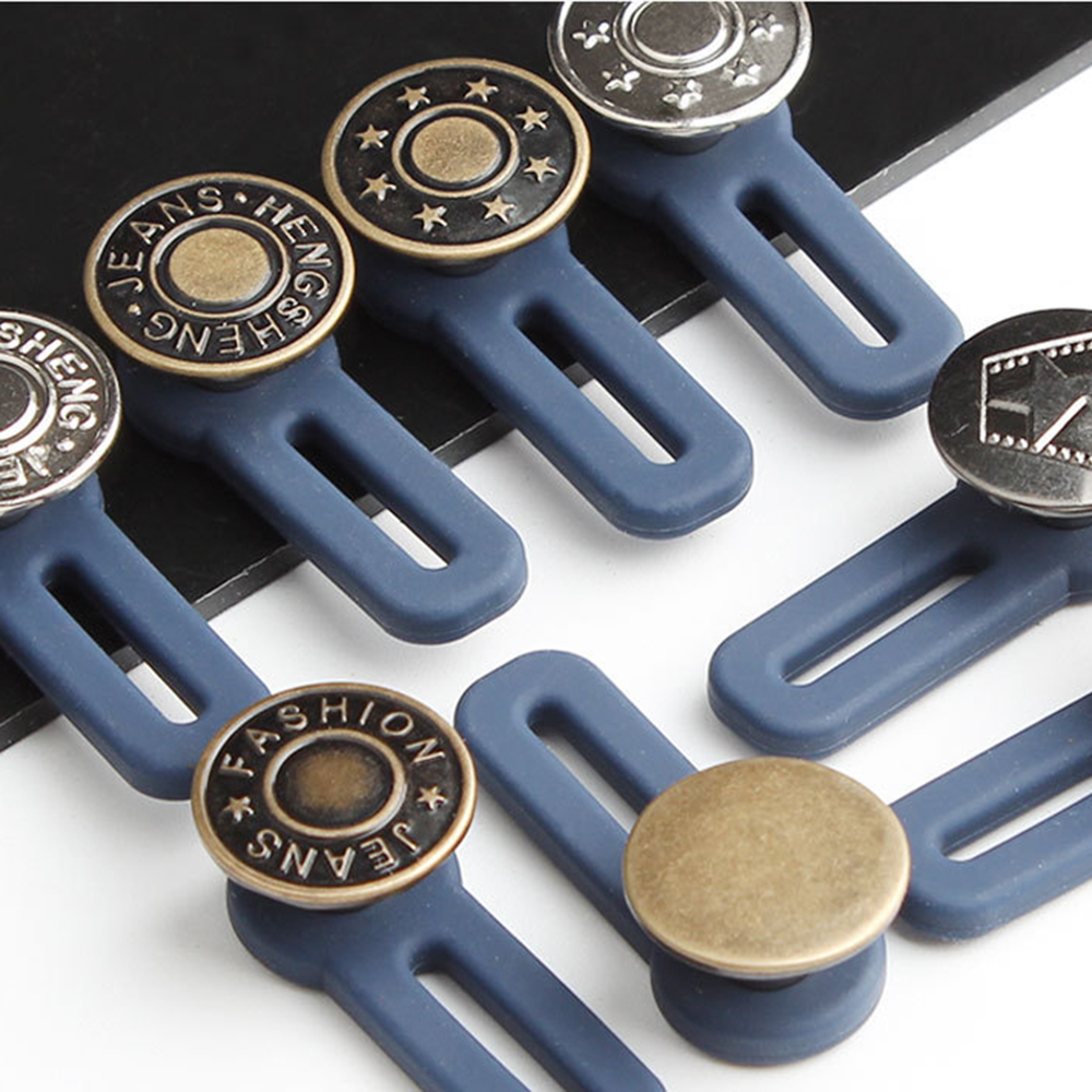 5Pcs Free Sewing Buttons Adjustable Disassembly Retractable Jeans Waist Button Metal Extended Buckles Pant Waistband Expander