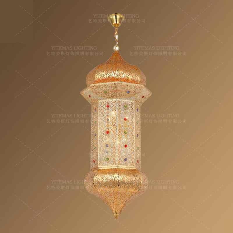 Muslim Gold Pendant Light Crystal Colored Pendant Lamp Arabian Morocco Hanging Indoor Lighting Home Decor In Restaurant Bedroom