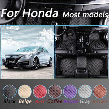 Leather Car Floor Mats For Honda Accord CRV CR-V Jazz Fit City Civic CRZ UR-V INSPIRE All Models Interior Accessories image