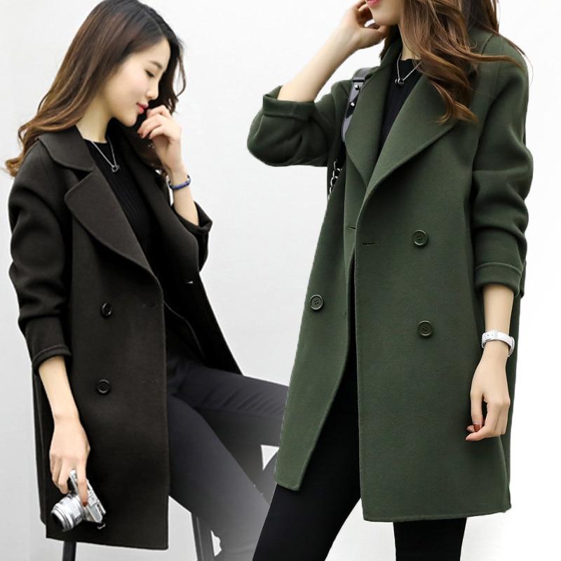2019 Winter Coat Women Plus Size Korean Fashion Belt Womens Coats Slim Artificial Wool Outerwear Warm Winter Jacket For Female 1