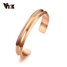 Vnox Trendy Femme Bracelets & Bangles Rose Gold-color Open Cuff Bracelets for Women Party Jewelry(China)