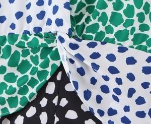 Image 5 - 2019 Autumn Vintage Print plaid Chiffon Dress Long sleeve V neck Contrast Color Stitching Split Dresses New Casual Slit vestido