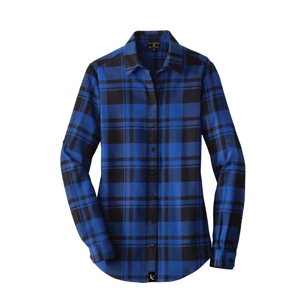 Женская фланелевая клетчатая рубашка хлопок весенне-осенняя Повседневная рубашка с длинными рукавами мягкая удобная приталенная стильная брендовая рубашка большого размера - Цвет: shirt 2