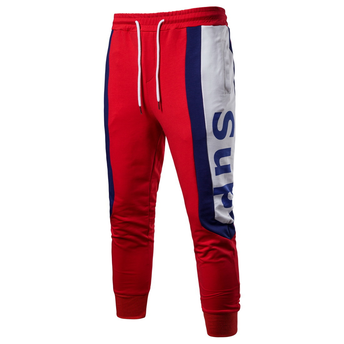 2019 Spring New Style Foreign Trade Large Size Men'S Wear-Style Fashion-Casual Sports Pants Contrast Color Printed Trousers YK00