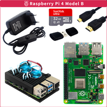 Originele Raspberry Pi 4 Model B Kit 2Gb/4Gb Aluminium Case + Switch Power Adapter + Micro hdmi Kabel + 32Gb Sd-kaart Voor Pi 4 4B