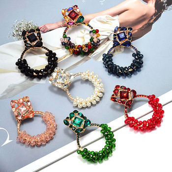 Geometric Colorful Rhinestone Dangle Drop Earrings  3