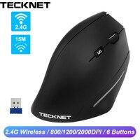 Tecknet 2.4g ergonomia vertical mouse sem fio 6 botões rato óptico 2000 dpi pulso que cura ratos da mão direita para o jogo pc