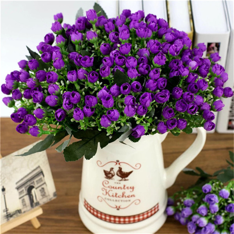 1 Bouquet 36 tête petit bourgeon Roses fleurs artificielles soie Rose fleurs décoratives décorations pour la maison pour mariage fausses fleurs