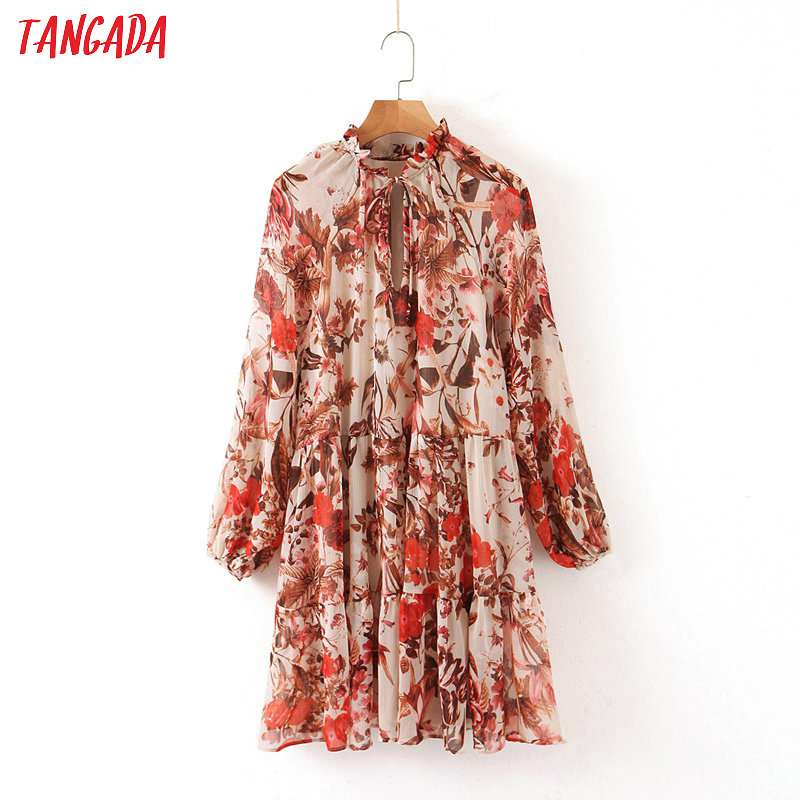 Tangada Fashion Women Red Flowers Print Chiffon Dress Bow Long Sleeve Ladies Loose Mini Dress Vestidos QB74