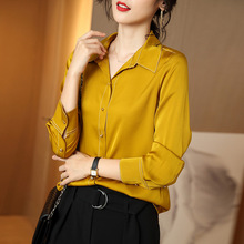 Women Silk Blouse 100% REAL SILK Solid Long Sleeve Womens Tops and Blouses Single Button Office