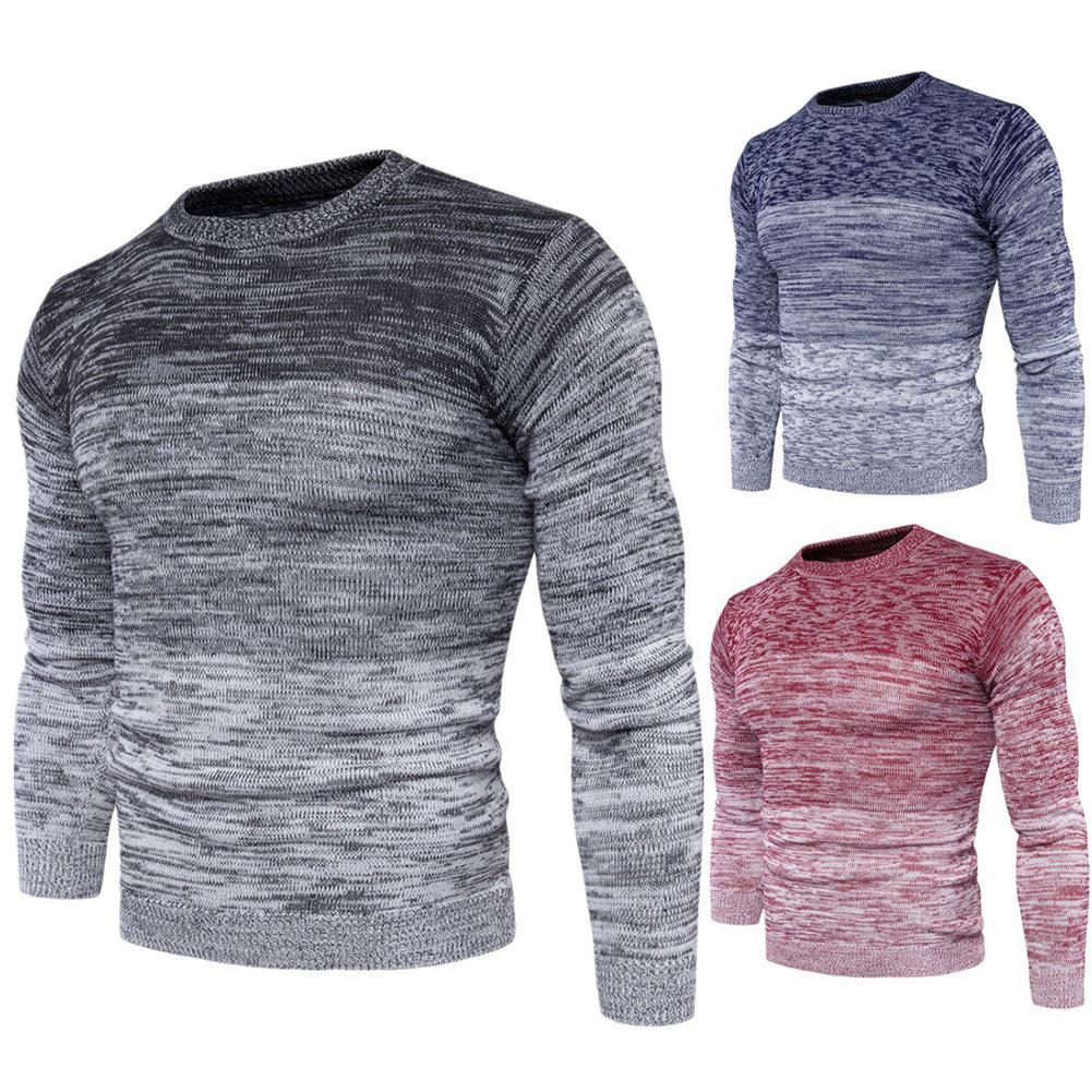 2020 Warm Casual Men Autumn Winter Gradient Color Print O Neck Knitted Pullover Sweater