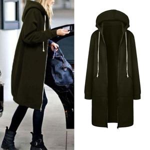 Women Warm Zipper Open Hoodies Sweatshirt Oversized Long Sleeve Drawstring Tracksuit Solid Color Hooded Jackets Winter Moletom