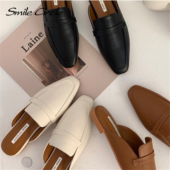 Smile Circle Summer Women Flat Shoes Slip-On Loafers Mules Flip Flops Minimalism Pointed Flat Heel Slipper Ladies sandals 2